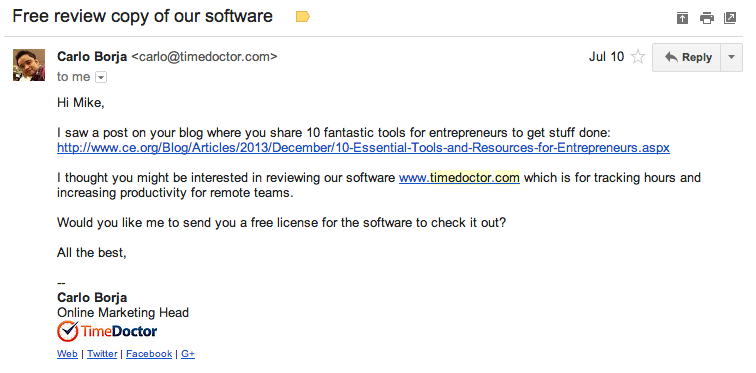Time Doctor email