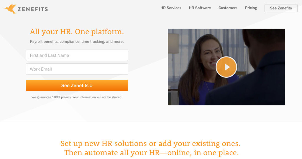 Zenefits homepage